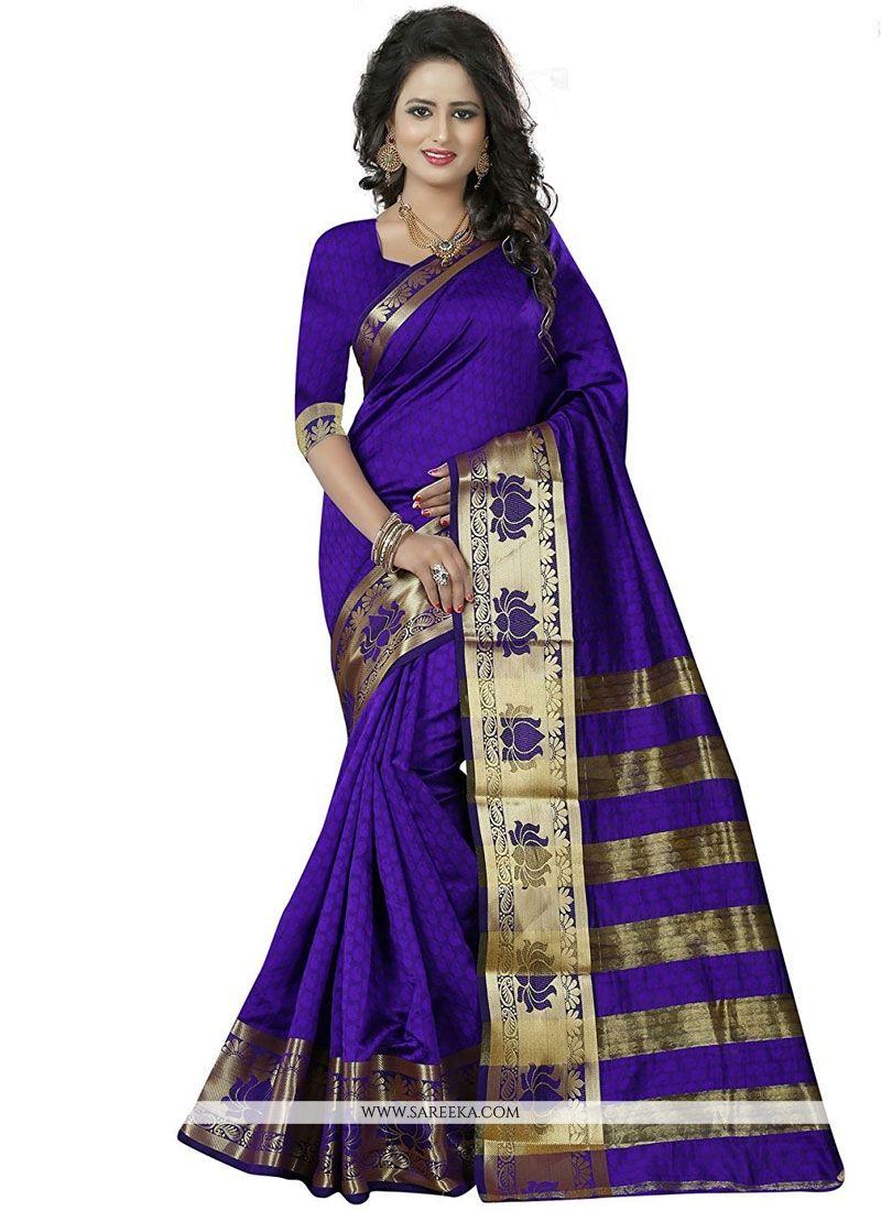 woven Work Navy Blue Classic Designer Saree