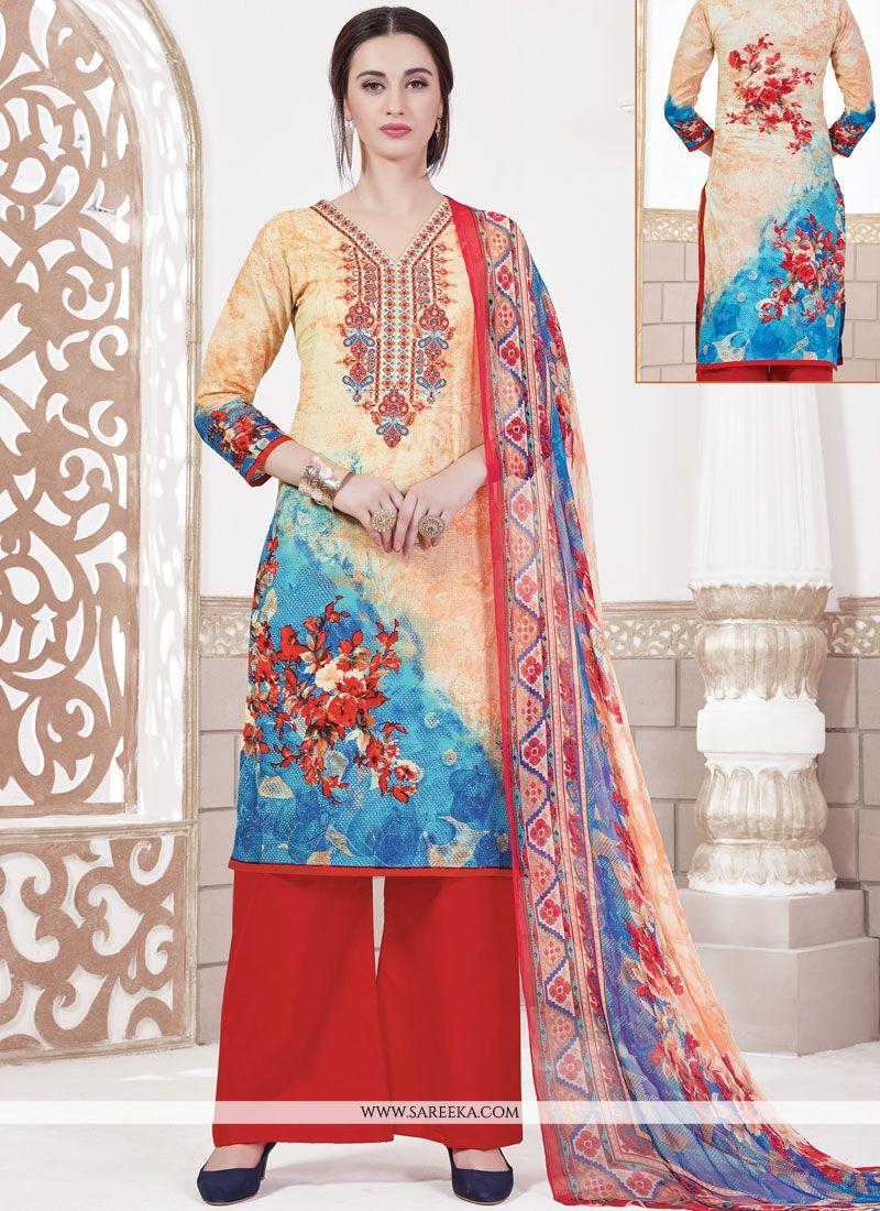 Multi Colour Cotton   Designer Palazzo Suit