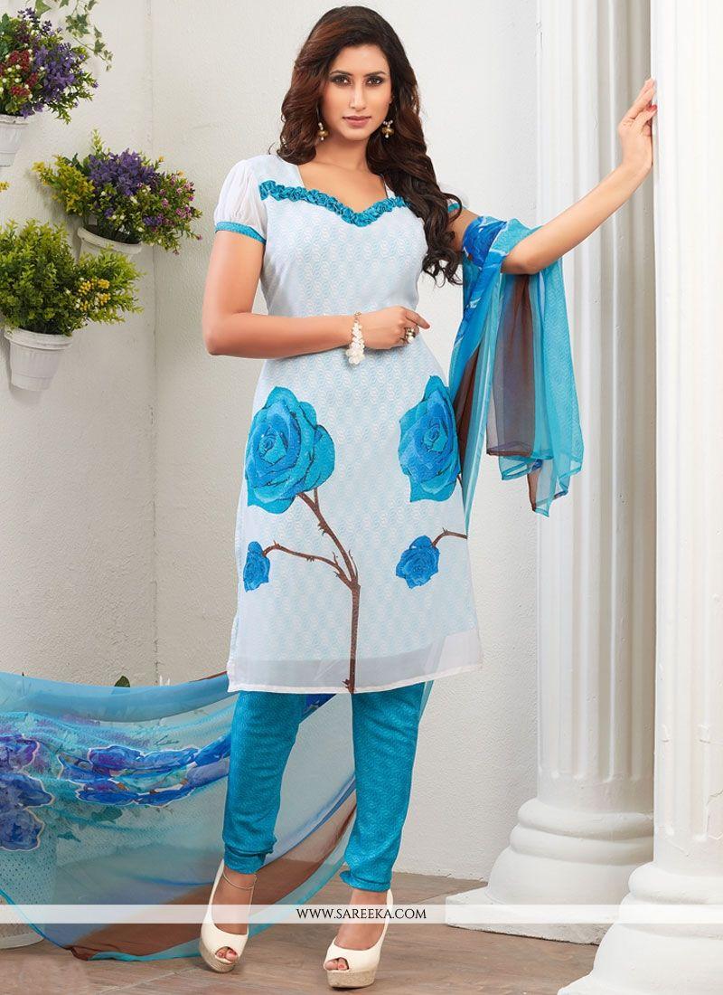 055fd22523 Buy Groovy Print Work Blue Churidar Suit Online : 54276