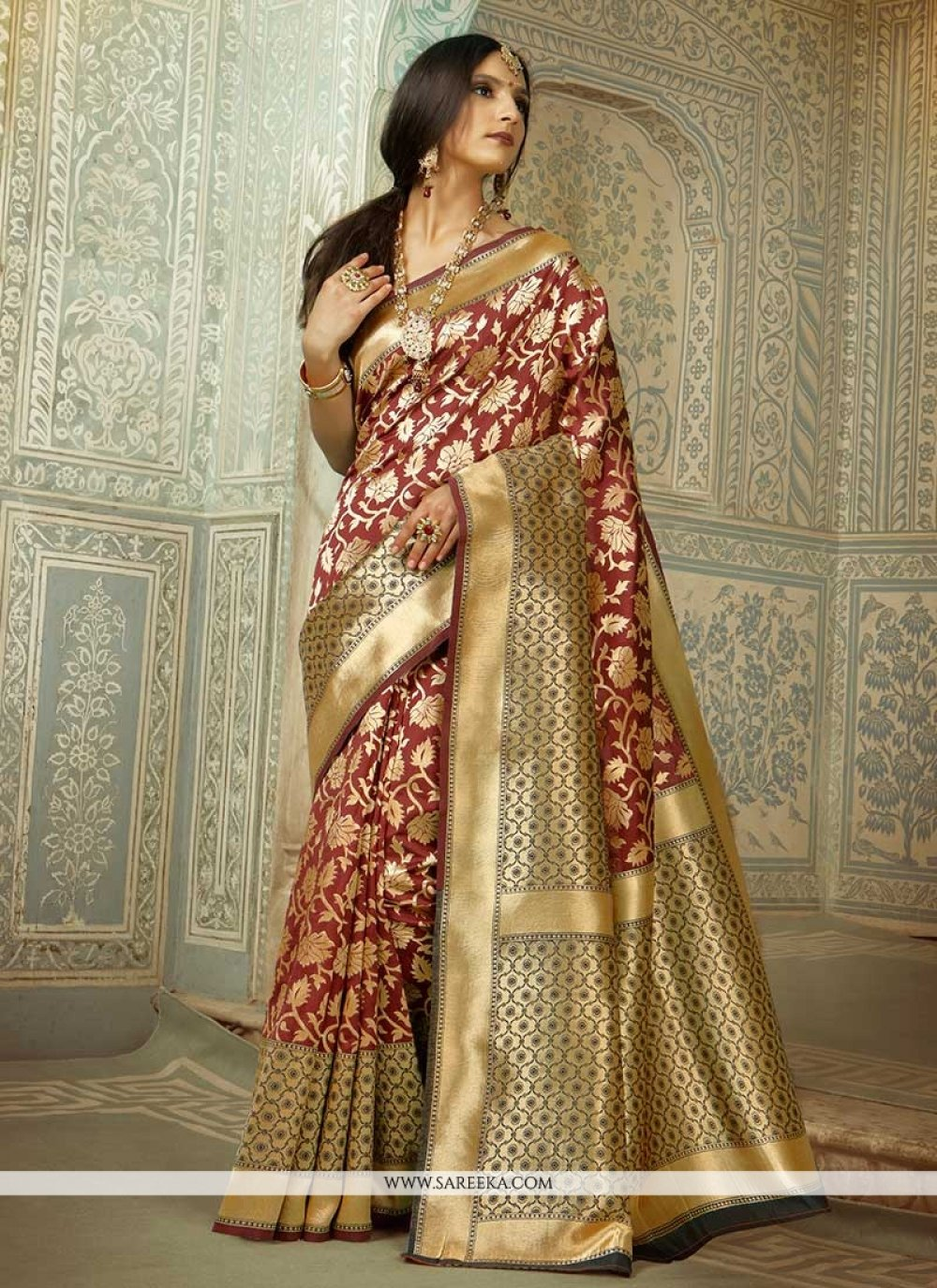 Handloom silk Brown Designer Traditional Saree