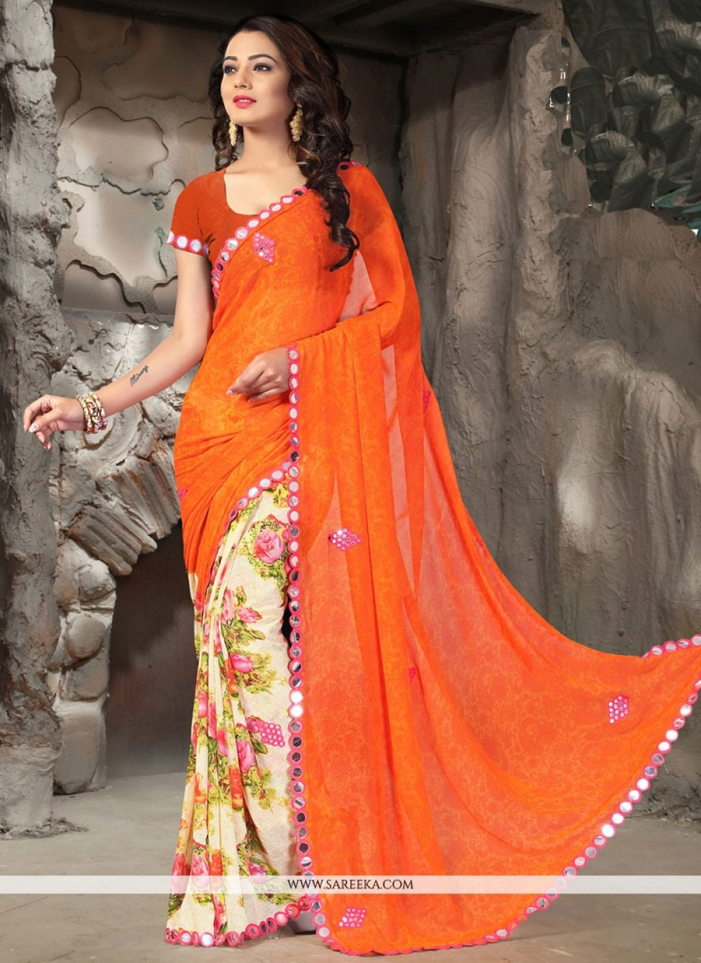 Faux Georgette Patch Border Work Printed Saree