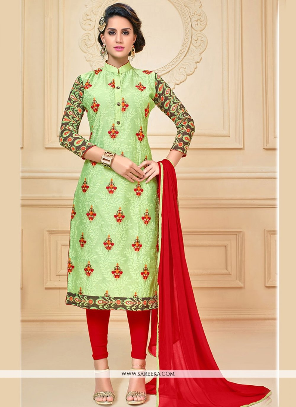 Green and Red Chanderi Cotton Churidar Suit
