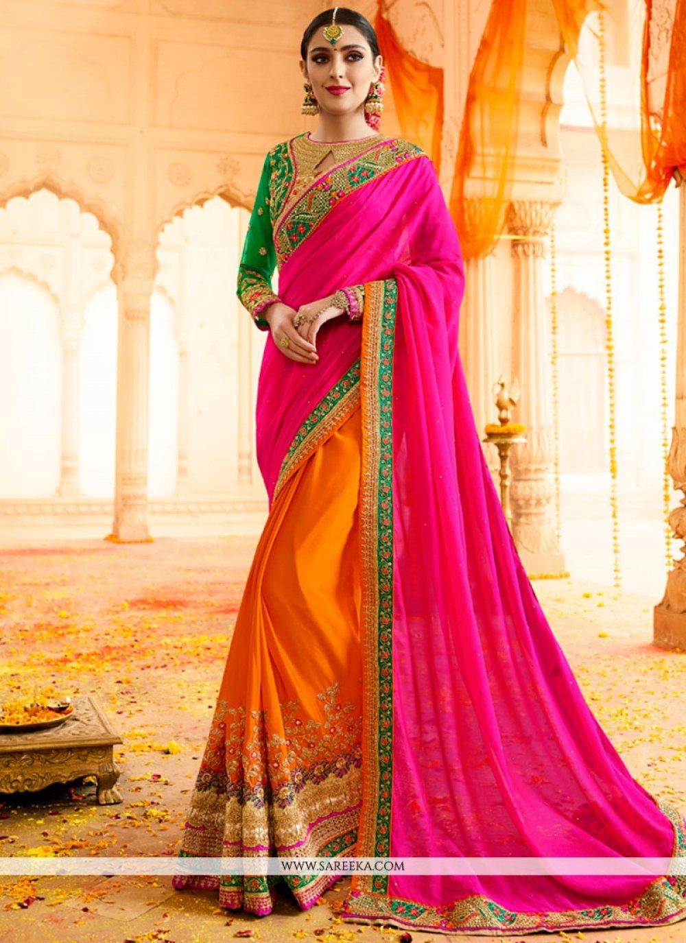 Hot Pink and Orange Designer Half N Half Saree