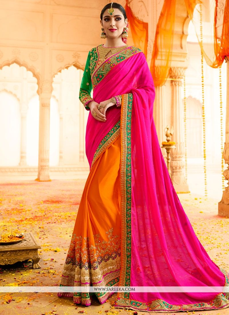 Hot Pink and Orange Designer Half N Half Saree