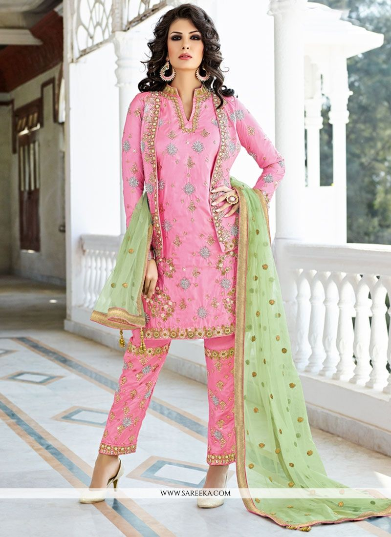 Pink Art Silk Pant Style Suit
