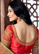 Crepe Silk Hot Pink, Orange and Yellow Designer Saree