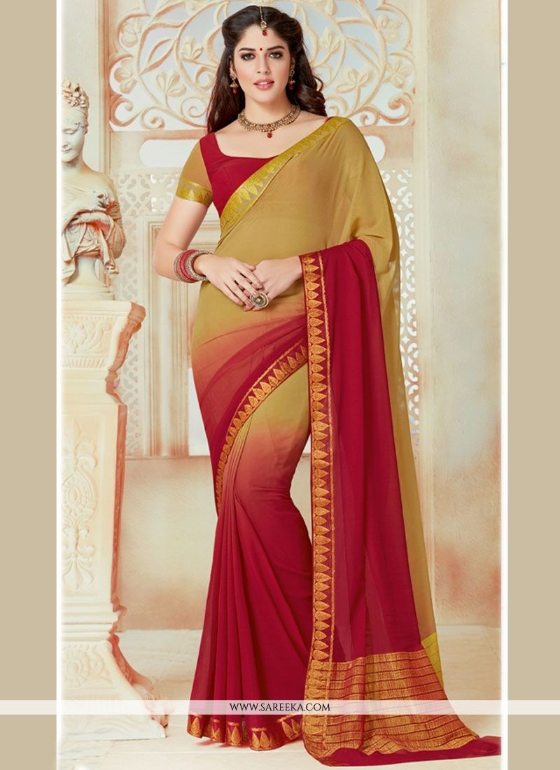 Faux Chiffon Lace Work Shaded Saree