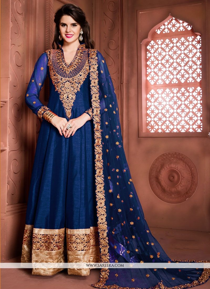 Zari Work Blue Banglori Silk Anarkali Salwar Kameez