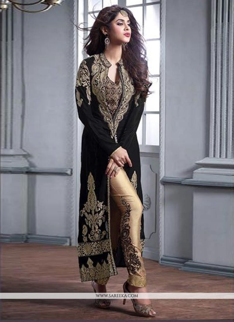 Buy Honourable Embroidered Work Velvet Pant Style Suit Online : UK