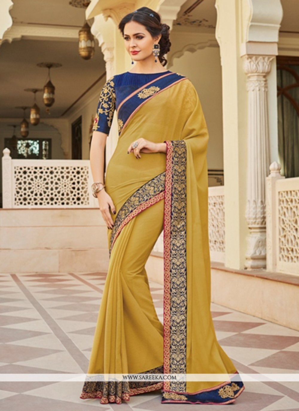Faux Georgette Mustard Patch Border Work Classic Saree