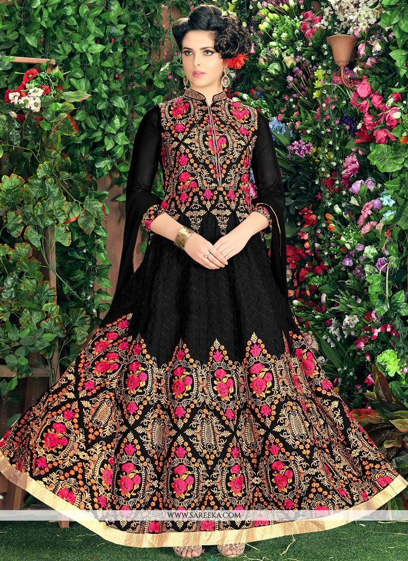 Lace Work Faux Georgette Readymade Anarkali Suit