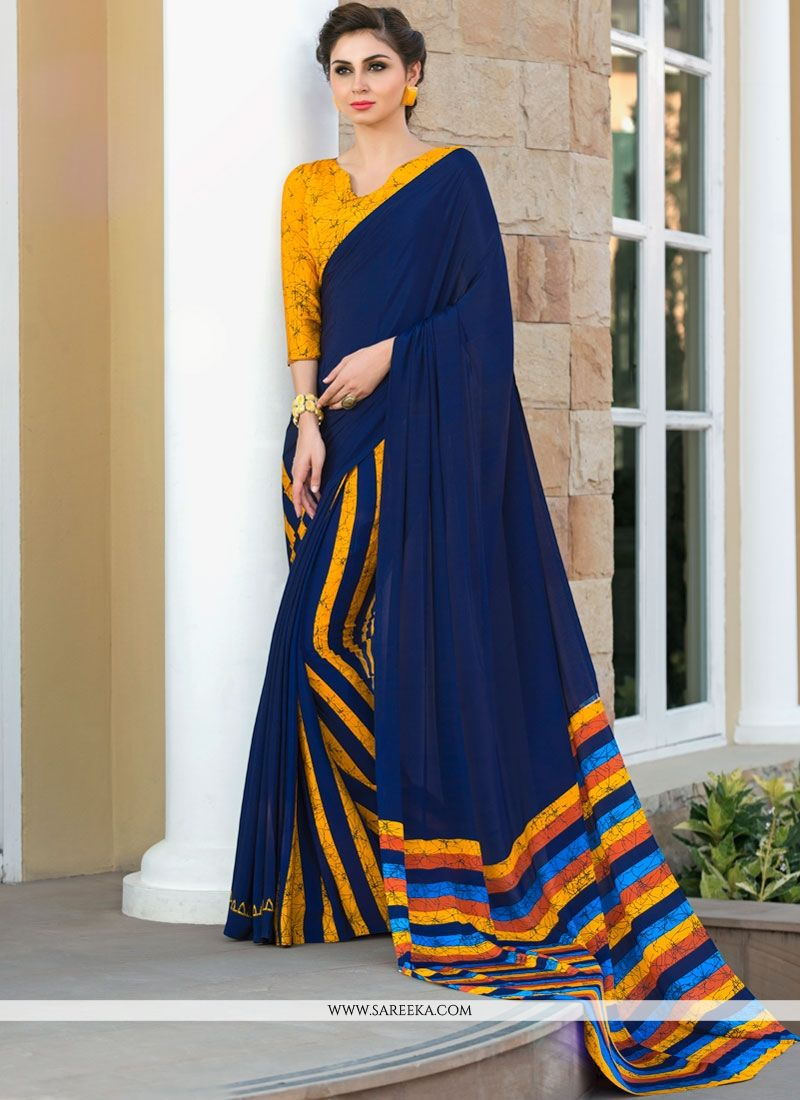 Navy Blue Printed Saree