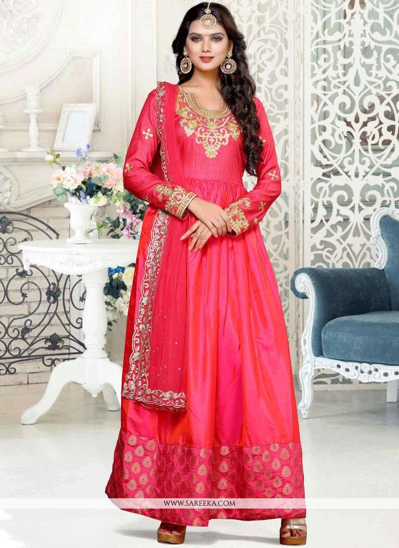 40f399f79b Shop Online Hot Pink Anarkali Suit : 61509 -