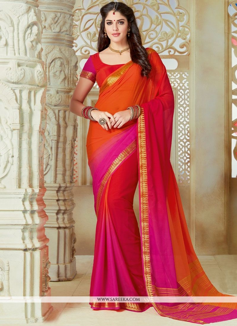 Hot Pink and Orange Lace Work Faux Chiffon Shaded Saree