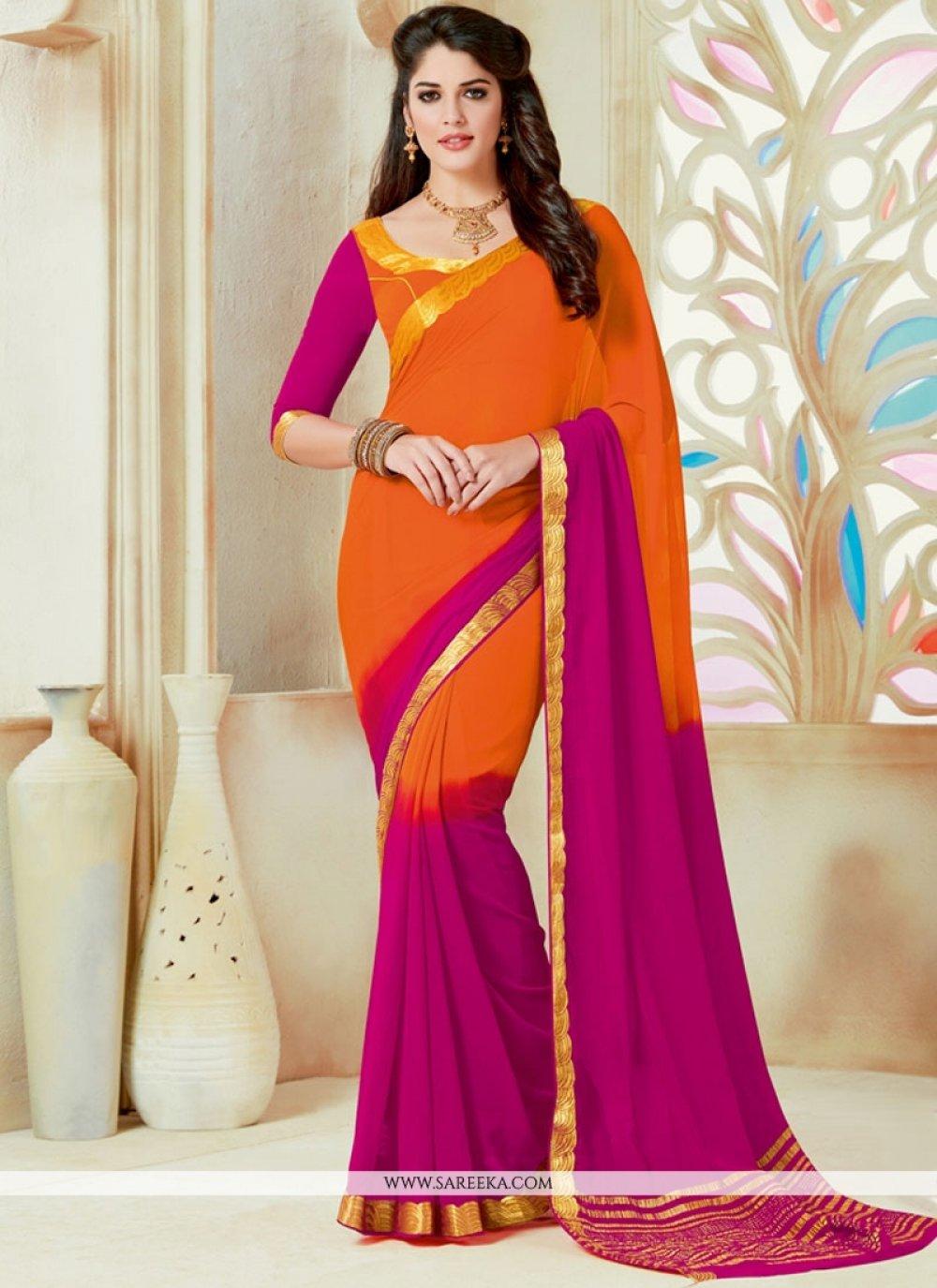 Hot Pink and Orange Lace Work Faux Chiffon Shaded Saree