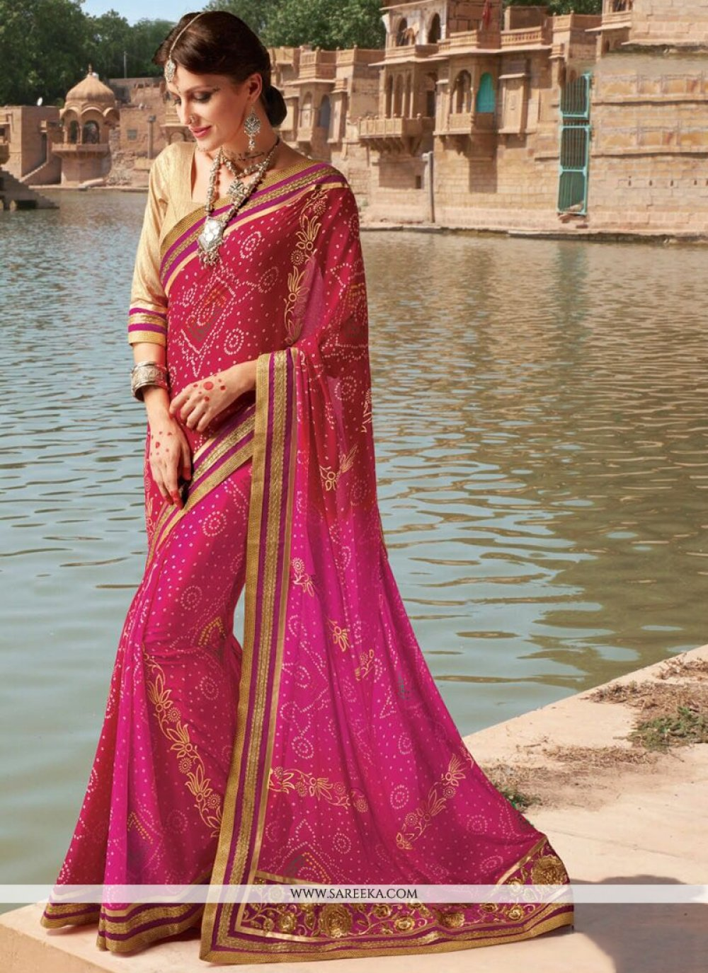 Hot Pink and Red Lace Work Faux Georgette Printed Saree