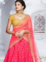 Hot Pink Embroidered Work Lehenga Choli