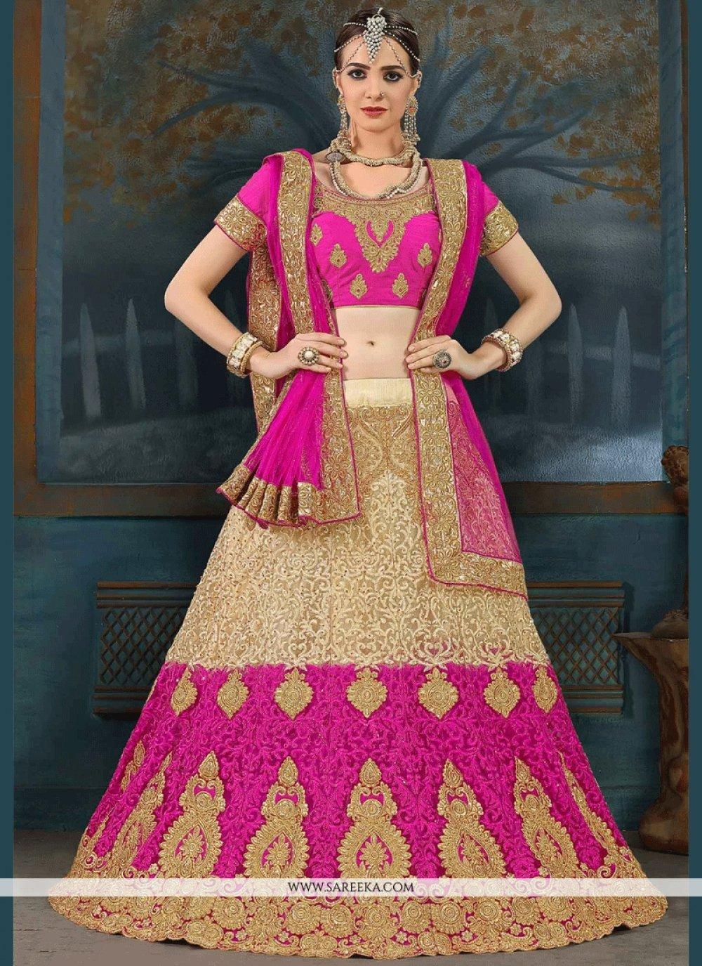 Hot Pink Floral Patterns Work Net Lehenga Choli