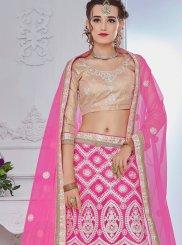 Hot Pink Lace Work Net Lehenga Choli