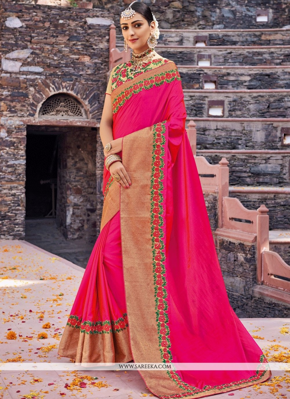 Hot Pink Patch Border Work Designer Traditional Saree
