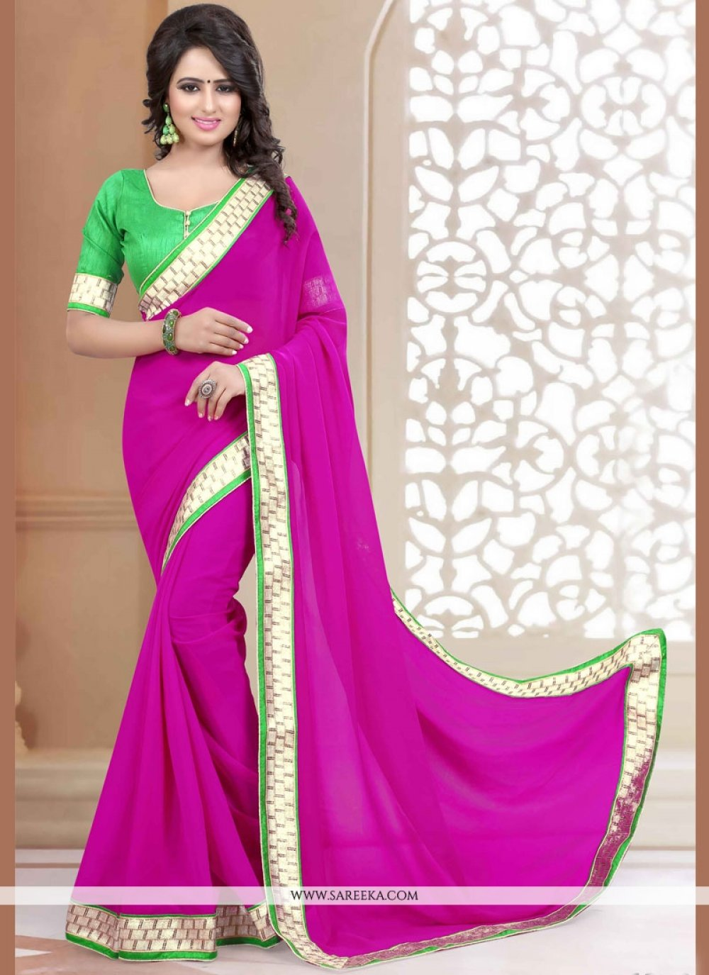 Hot Pink Patch Border Work Faux Georgette Casual Saree