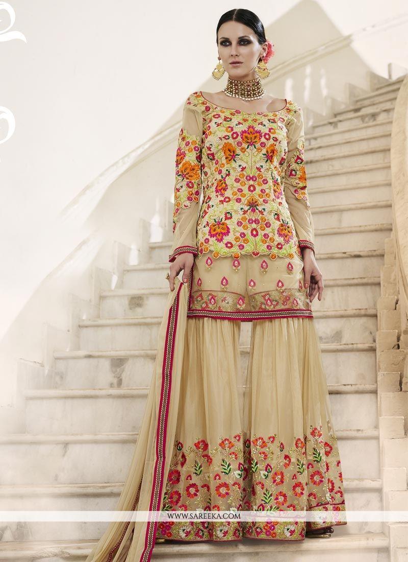 Beige Designer Palazzo Suit