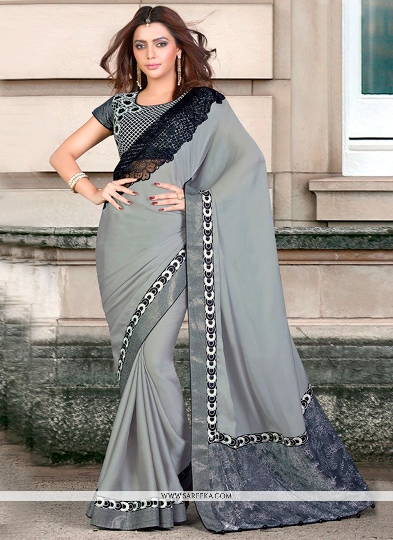 7f57a2e221 Buy Grey Embroidered Work Traditional Saree Online : New Zealand -