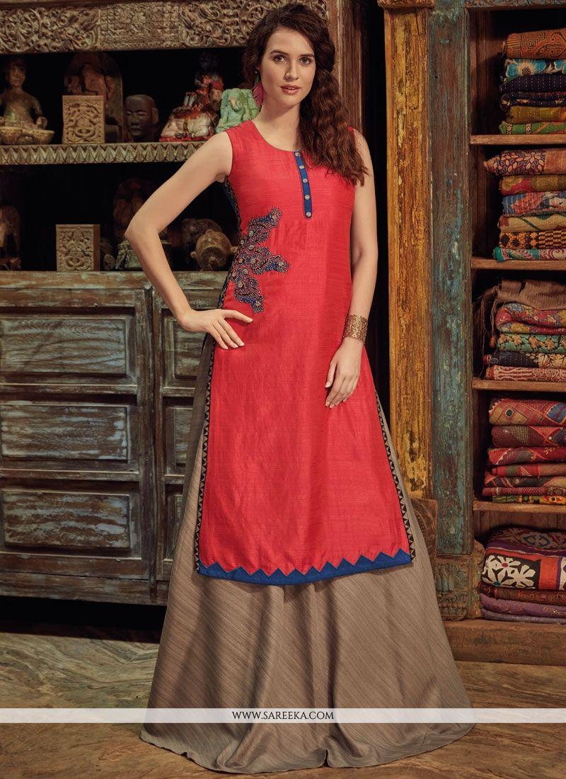 454957bc4b9 Buy Hand Work Work Chanderi Red Party Wear Kurti Online   Indian Ethnic Wear  -