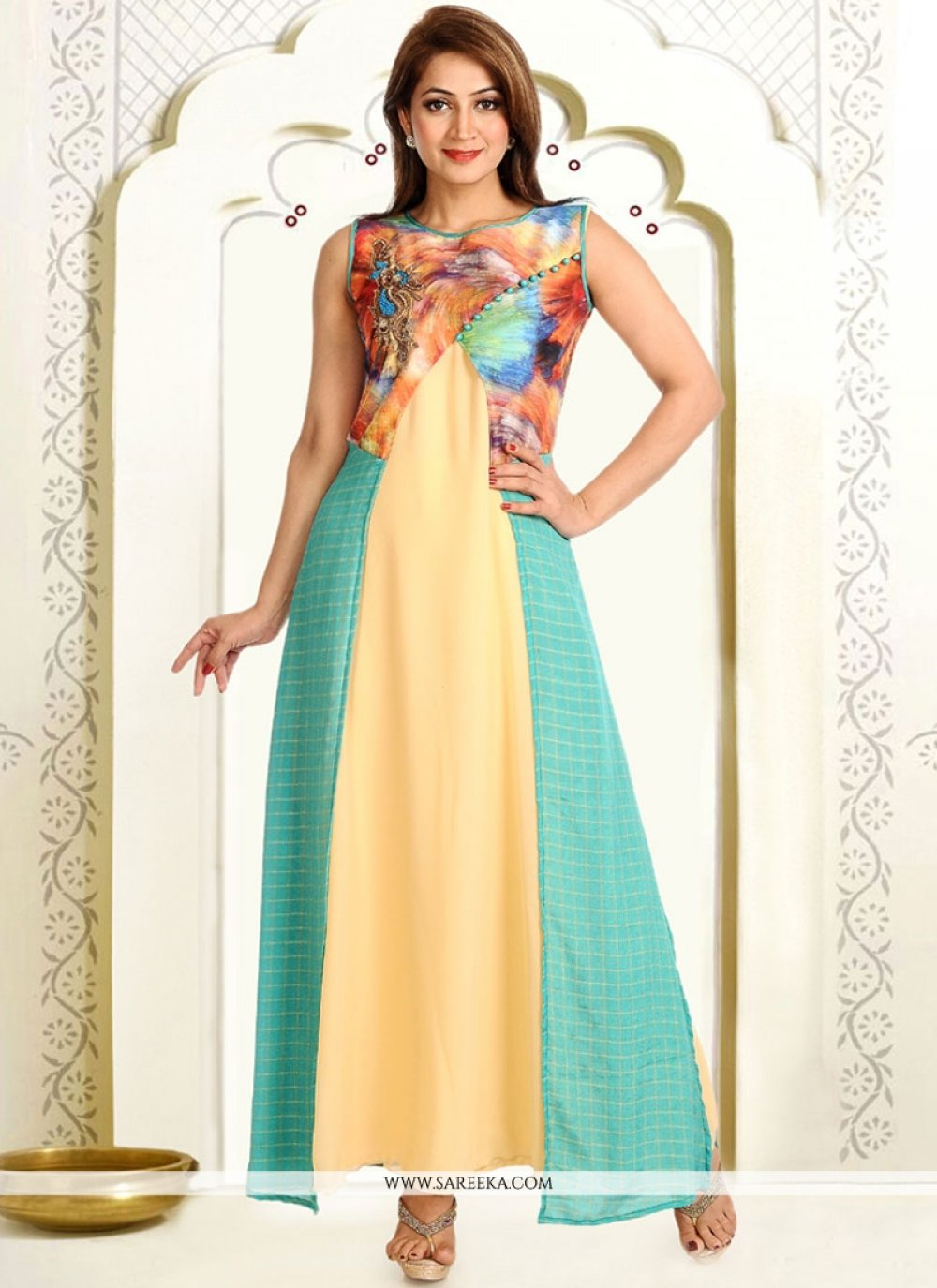 Print Work Faux Georgette Turquoise and Yellow Party Wear Kurti