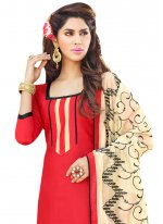 Red Embroidered Work Churidar Suit