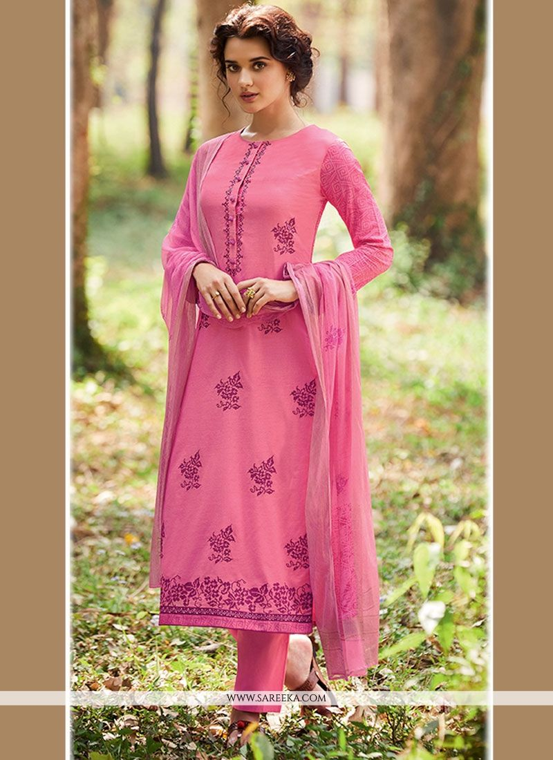 Print Work Cotton   Designer Straight Suit