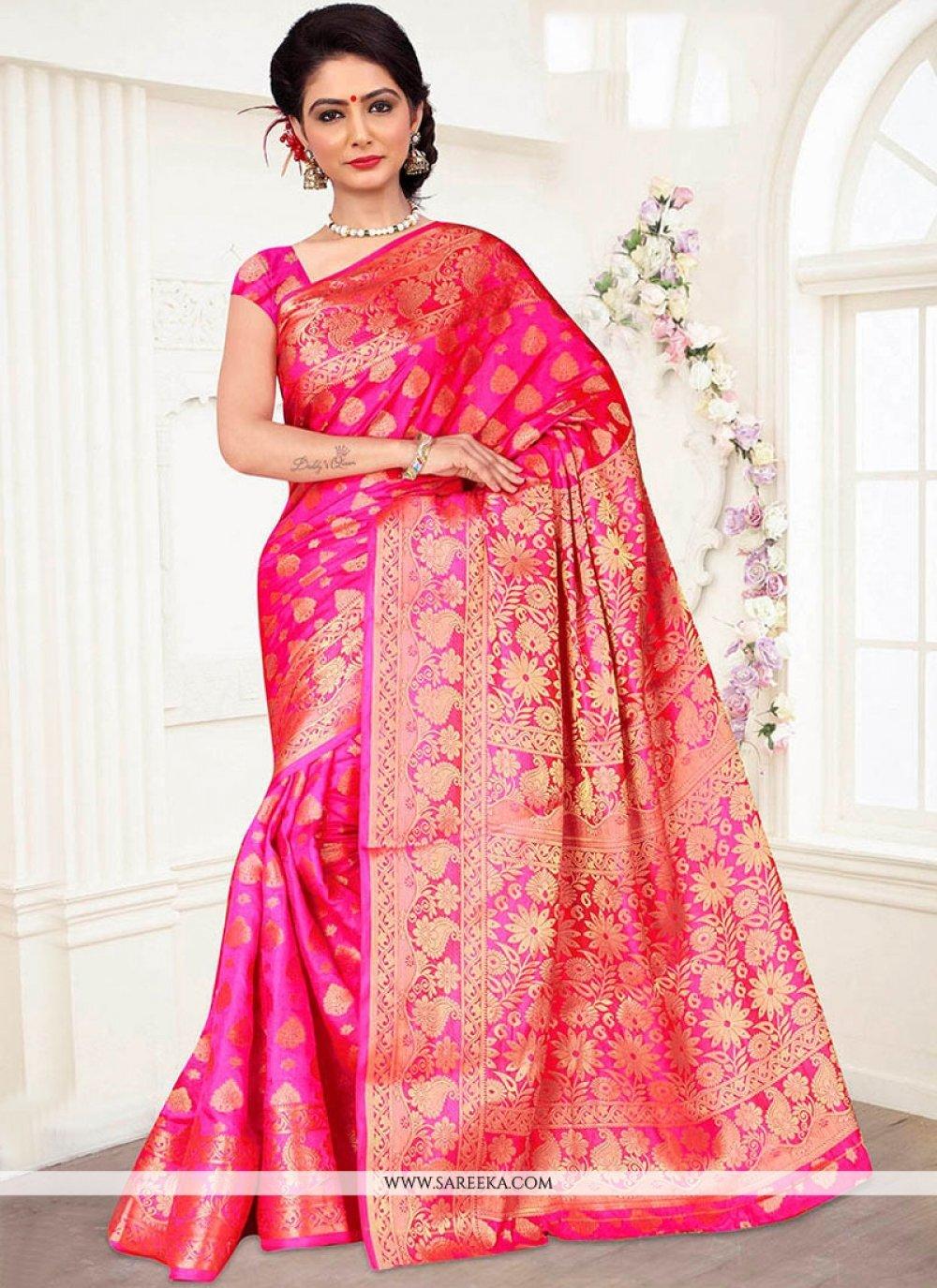Weaving Work Rose Pink Banarasi Silk Traditional Designer Saree