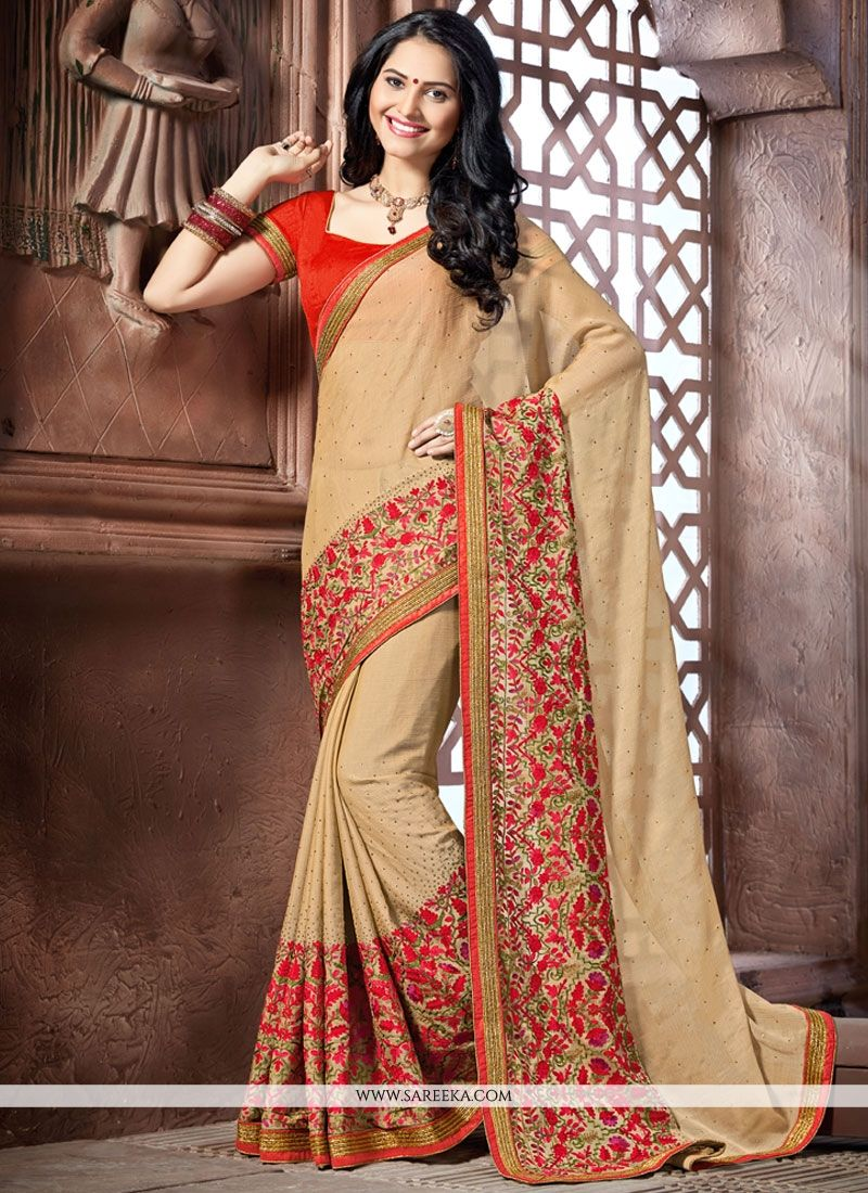 Embroidered Work Faux Crepe Trendy Saree