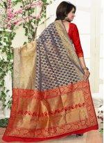 Grey and Red Banarasi Silk Traditional  Saree