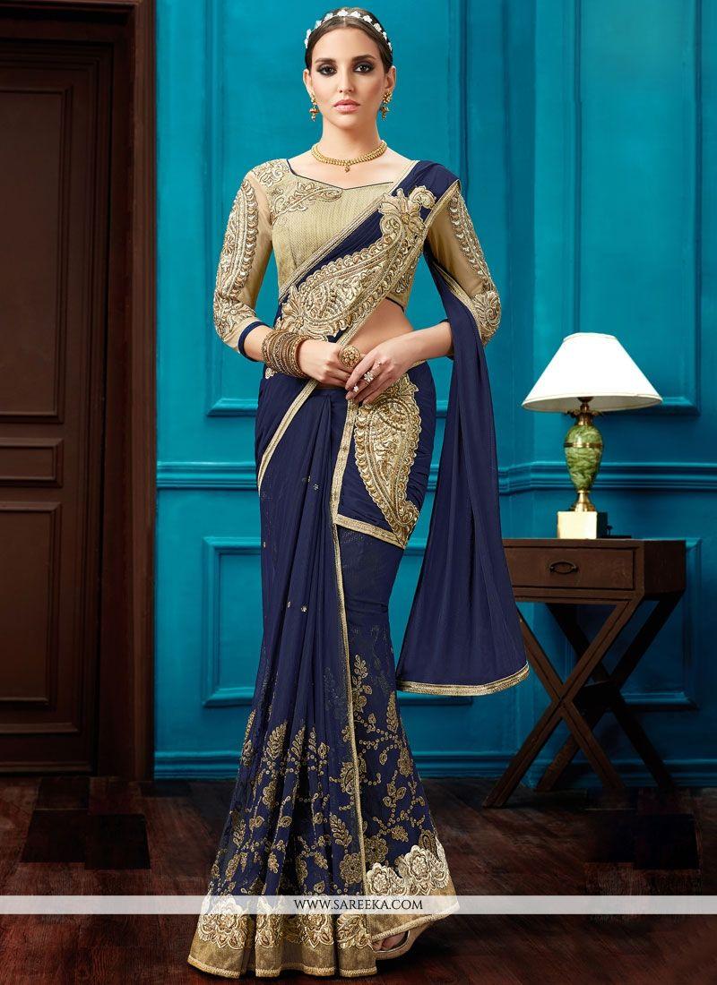 Buy Lace Work Navy Blue Net Lehenga Saree Online : UK, USA, Canada ...