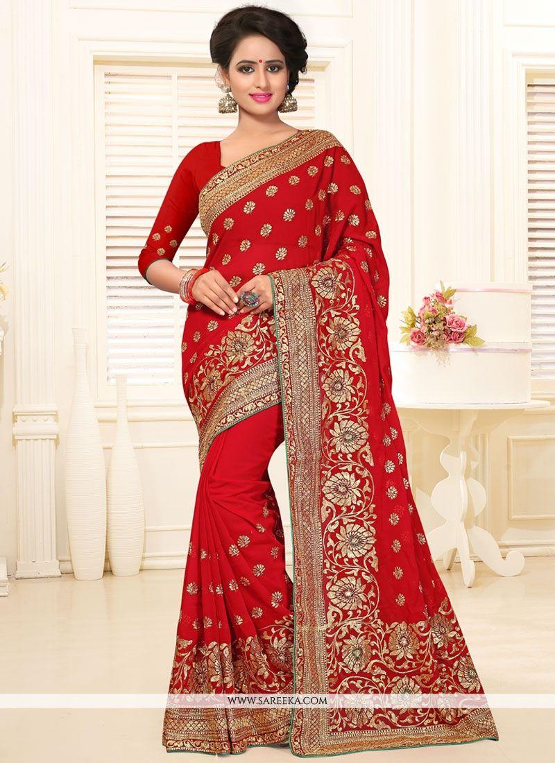 259062b82c Buy Red Stone Work Classic Designer Saree Online : USA, UK -