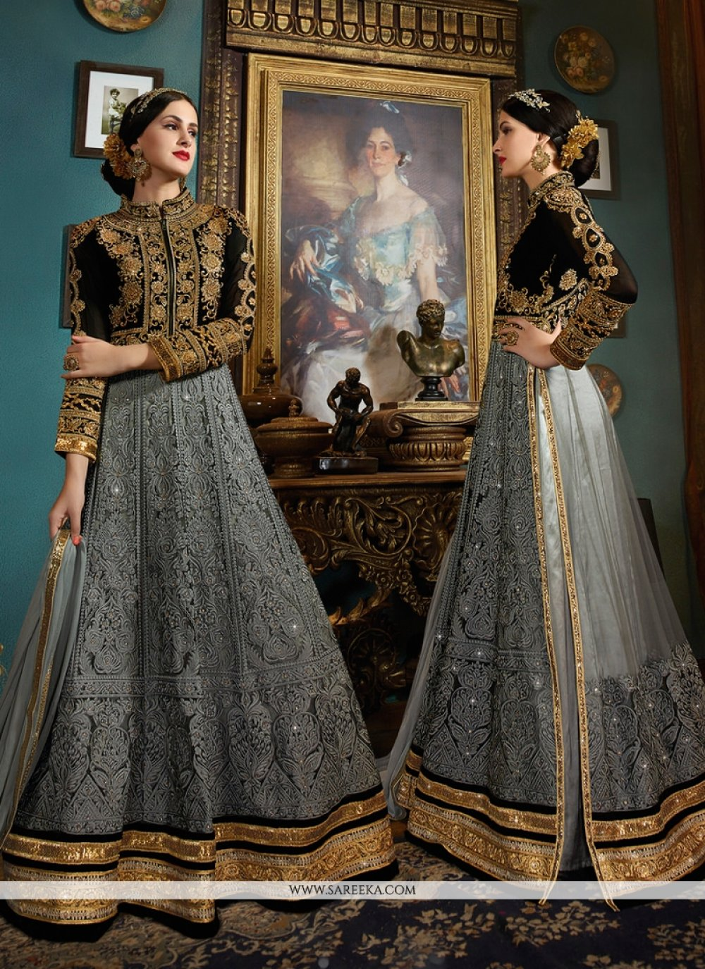 Embroidered Work Grey Designer Floor Length Suit