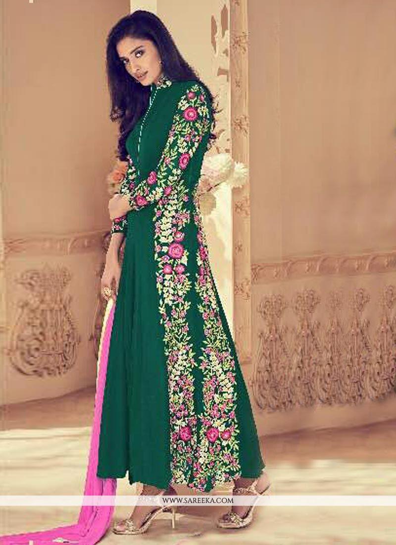 Green Resham Work Faux Georgette Floor Length Anarkali Suit