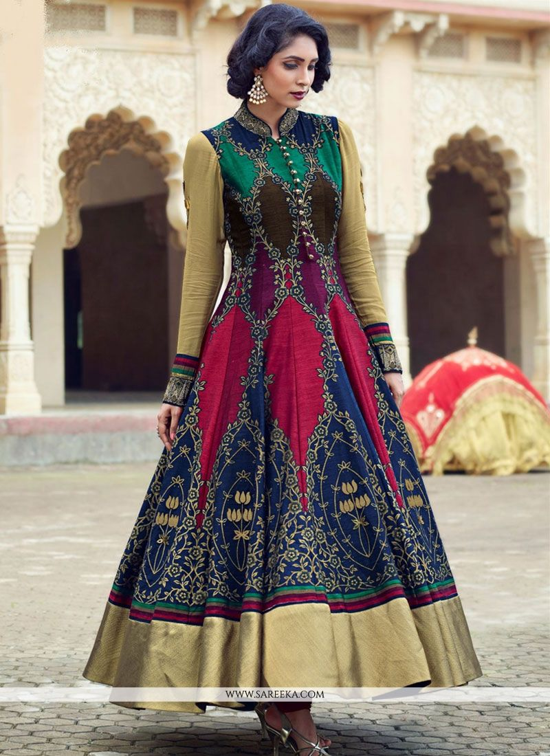 23c86df0e3 Buy Patch Border Work Banglori Silk Readymade Anarkali Suit Online : UK,  USA, Canada, Australia -