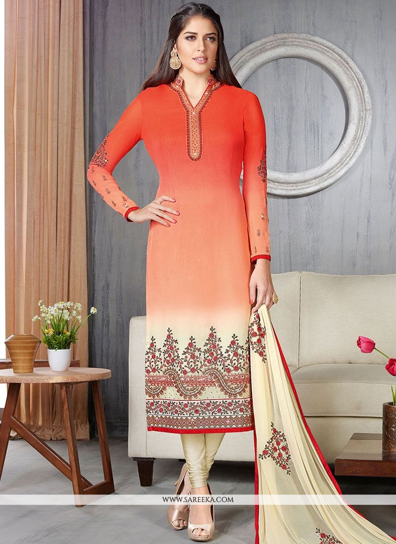 Cream and Red Lace Work Faux Georgette Churidar Suit