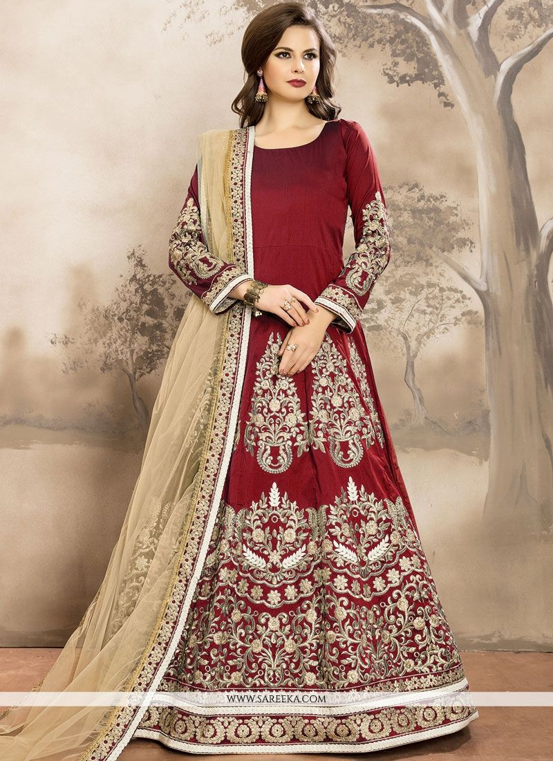 Lace Work Tafeta silk Floor Length Anarkali Suit