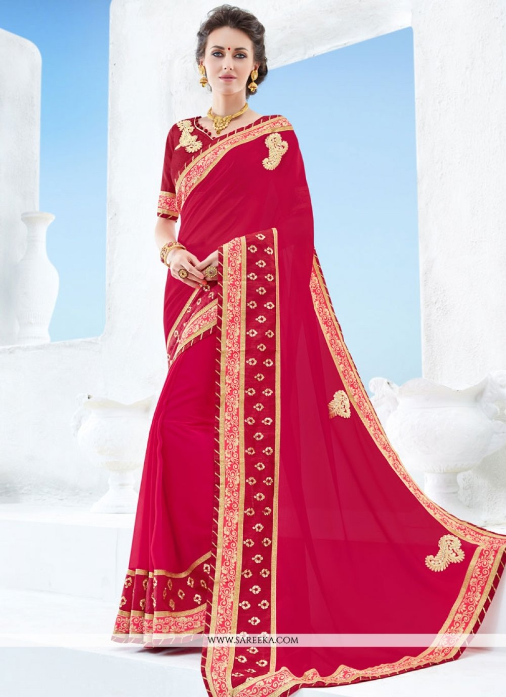 Red Patch Border Work Faux Georgette Classic Designer Saree