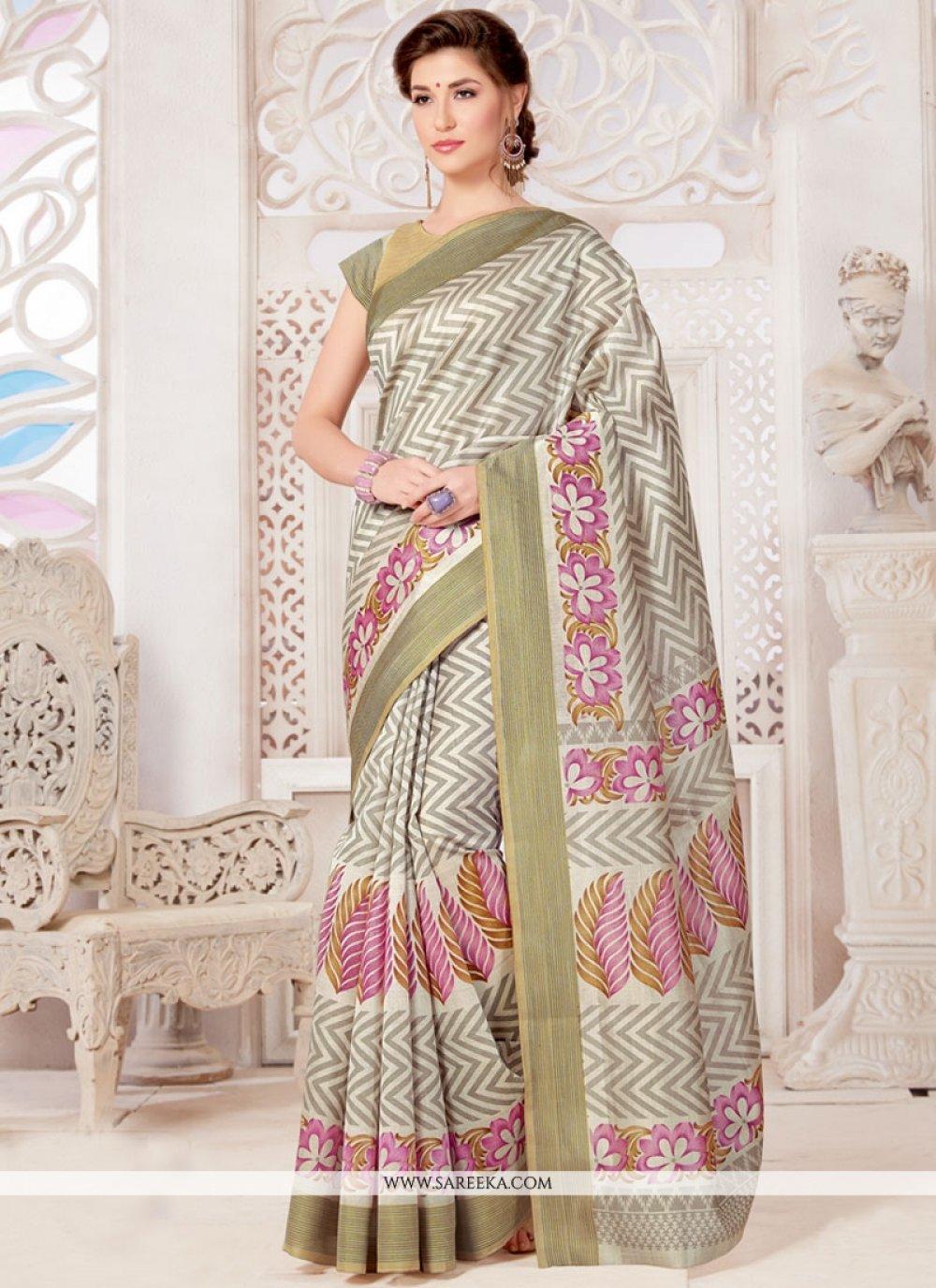 Tussar Silk Multi Colour Print Work Casual Saree