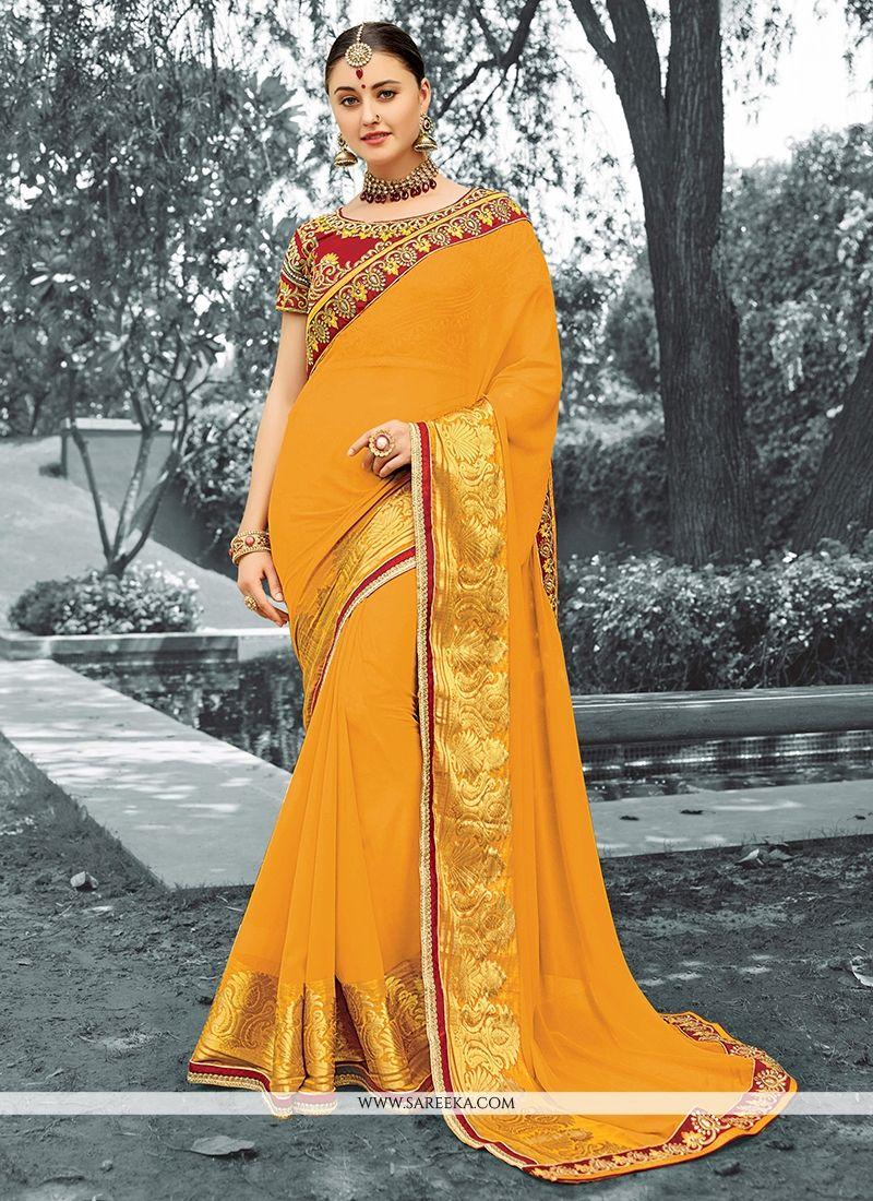 Mustard Lace Work Viscose Classic Designer Saree