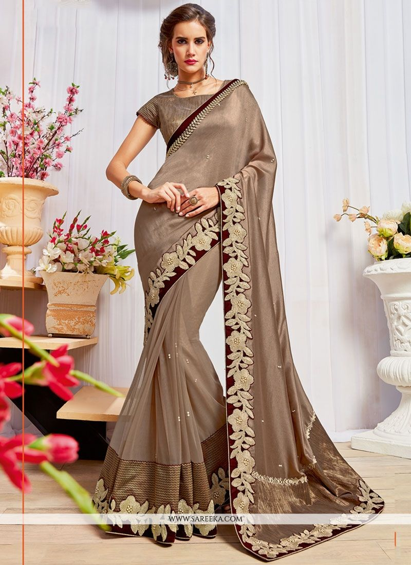 da91bcd7bc Buy Faux Georgette Brown Embroidered Work Classic Designer Saree Online : New  Zealand -