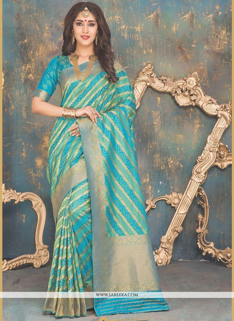Blue Weaving Work Banarasi Silk Traditional Designer Saree
