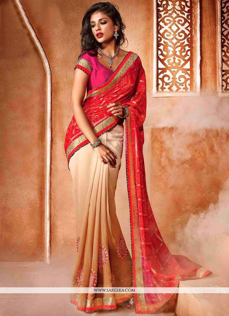 Beige, Pink and Red Designer Saree