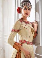 Beige Resham Work Banarasi Silk Long Choli Lehenga
