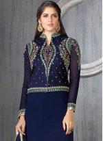 Faux Georgette Navy Blue Churidar Suit