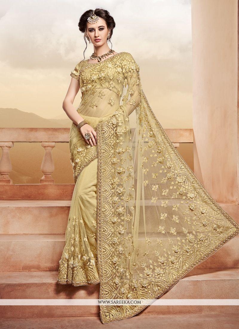 Buy Net Beige Lace Work Classic Designer Saree Online At